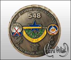 Combat Sustainment Support Battalion from Fort Drum, New York. Wave edge cut on an antique copper coin.