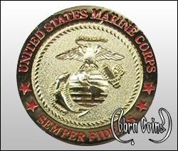 Alternate version of U.S. Marine Corps 3D emblem with 4 stars on a shiny gold coin.