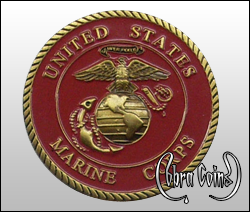 3D U.S. Marine Corps coin with minted rope designed to appear as an edge cut.