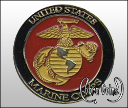 2D U.S. Marine Corps coin minted on antique brass. The emblem colored in enamel to appear as two toned metals.