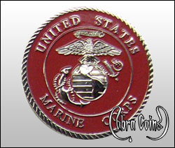 Beautiful 3D U.S. Marine Corps minted on shiny silver complete with highly detailed emblem and enamel color.