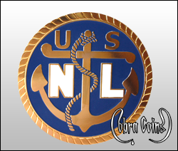 United States Navy coin with an anchor and a faux swirl edge minted on the antique gold coin.