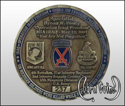 Memorial coin dedicated to soldiers who've given their lives.