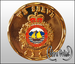 Shiny gold service battalion coin minted with crown, banner and leafy border.