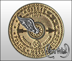 Two tone metal decorates the flying wheel which is surrounded by cycle chains. 11 stars represent the fallen motorcycle officers.