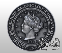 Brookshire Masonic Lodge commemorative antique coin celebrating their 100th anniversary.