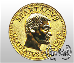 3D gold coin with a highly reflective bust of Spartacus.