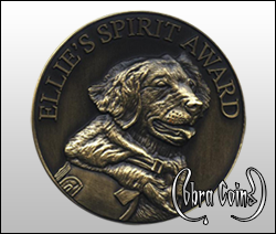 Highly detailed bust of Ellie the dog on huge 2 inch antique coin.