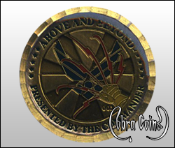 Wave edge cut Commander coin with epoxy.