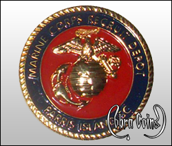 Beautifully minted 3D Marine Corps emblem on a shiny gold coin.