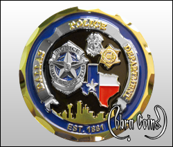 Two metal 3D coin with detailed police badges.
