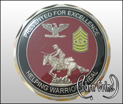 3D petal edge cut coin with highly detailed horse and rider.