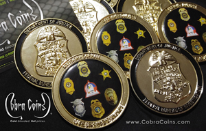 FBI coin Department of Justice Raleigh - Durham Safe Streets Task Force 2D Offset Printed Front and 3D Badge Back Shiny Gold cobra coins cobracoins.com