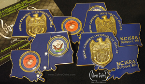 Naval Criminal Investigative Service NCISRA, Gulfport MS US Special Agent coin Custom shaped coin with Offset Printed Front and 3D Back Antique Gold coin cobra coins cobracoins.com